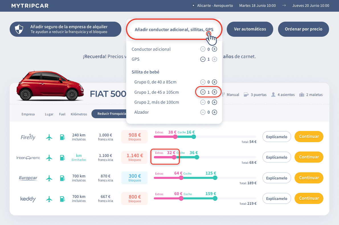 Elegir conductor adicional MyTripCar